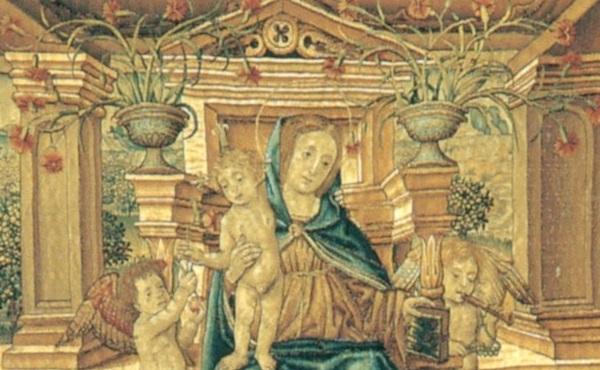 artefice-fiammingo-bruges-arazzo-madonna-con-bambino-angeli-santi-coronati-1502-gazzada-collezione-cagnola