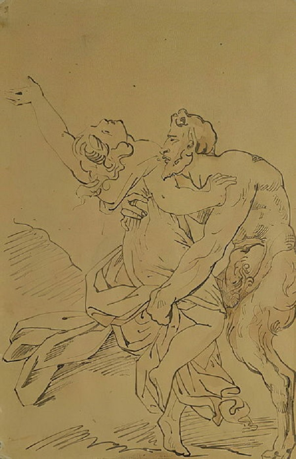 theodore-gericault-satiro-ninfa-pennello-su-carta-rouen-museo-beaux-arts