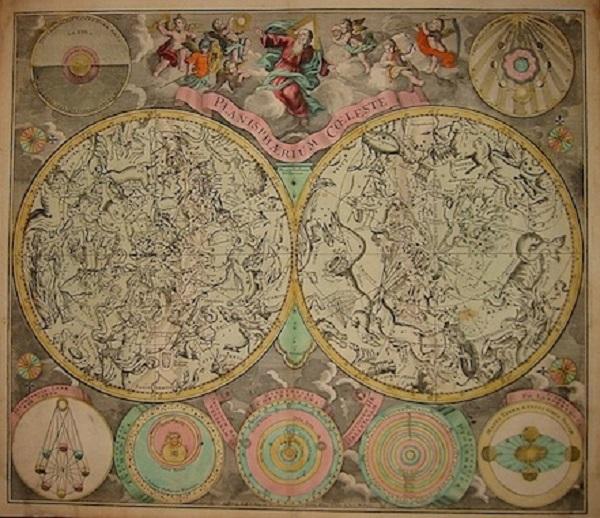 matthaeus-seutter-planisphaerium-coeleste-augsburg-1740- incisione-colorata-acquarello