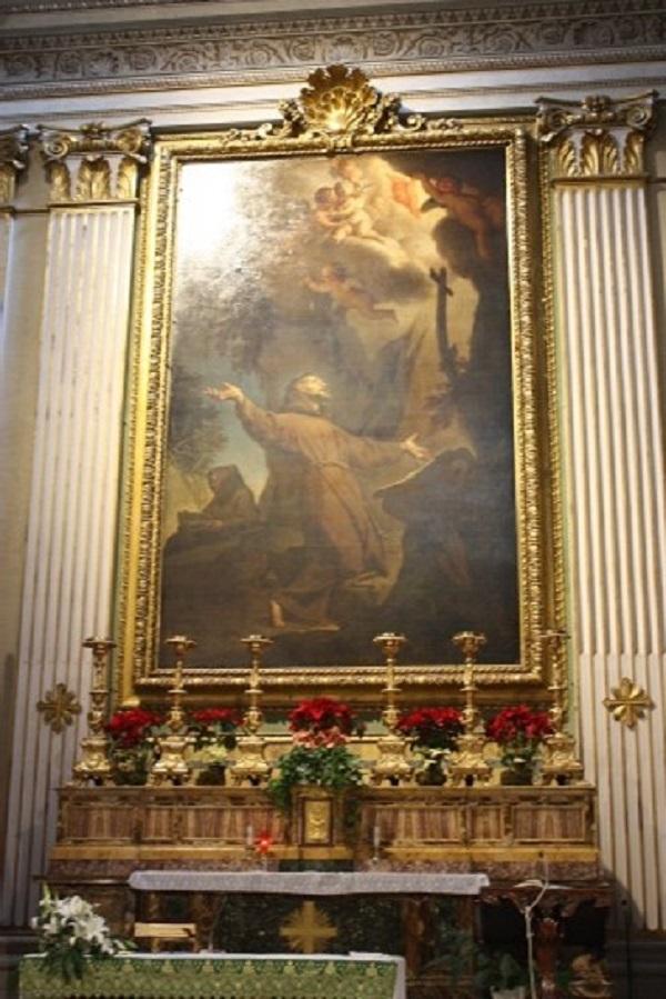 francesco-trevisani-francesco-riceve-le stigmate-1718-roma-chiesa-ss-stimmate-altare-maggiore