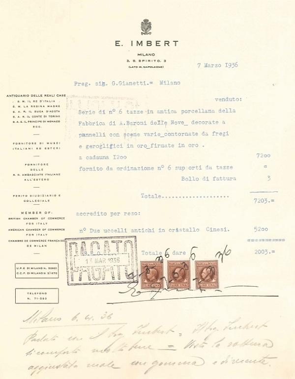 fattura-galleria-imbert-1936-tazzine-piattini-porcellana-gianetti